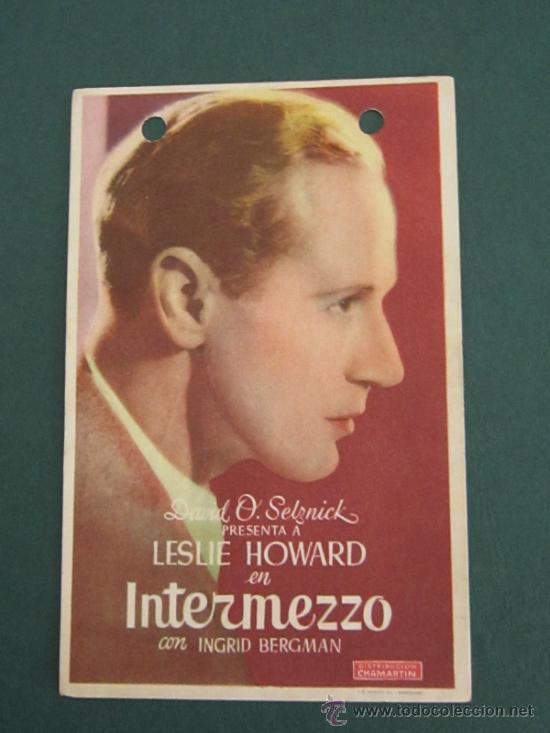 PROGRAMA DE CINE - INTERMEZZO - 1939 - PUBLICIDAD (Cine - Folletos de Mano - Acción)