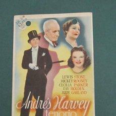 Cine: PROGRAMA DE CINE - ANDRÉS HARVEY TENORIO - 1940 - TROQUELADO . Lote 39261727