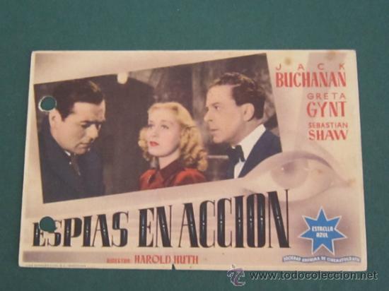 PROGRAMA DE CINE - ESPIAS EN ACCIÓN - 1940 - PUBLICIDAD (Cine - Folletos de Mano - Acción)