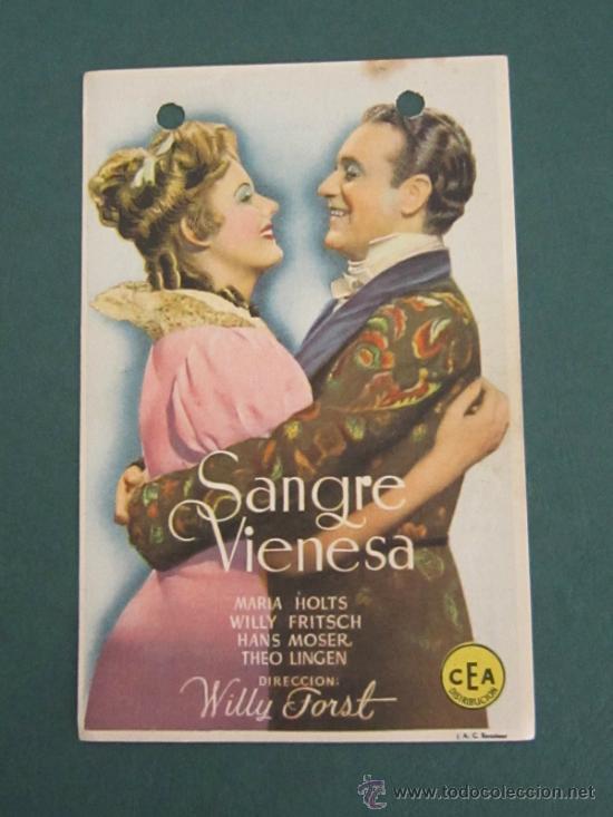PROGRAMA DE CINE - SANGRE VIENESA - 1942 -PUBLICIDAD (Cine - Folletos de Mano - Drama)