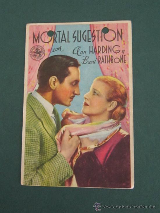 PROGRAMA DE CINE - MORTAL SUGESTION - 1936 - DOBLADO - ARRUGAS (Cine - Folletos de Mano - Drama)