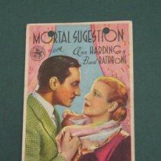 Cine: PROGRAMA DE CINE - MORTAL SUGESTION - 1936 - DOBLADO - ARRUGAS. Lote 39282305