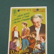 Cine: PROGRAMA DE CINE - RAPSODIA DE JUVENTUD - 1939 - PUBLICIDAD. Lote 39282429