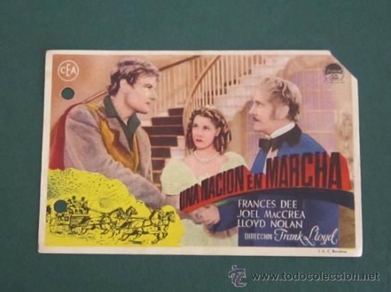 PROGRAMA DE CINE - UNA NACIÓN EN MARCHA - 1937 - DOBLADO (Cine - Folletos de Mano - Acción)