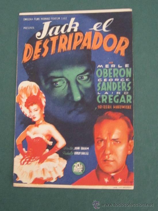 PROGRAMA DE CINE - JACK EL DESTRIPADOR - 1944 - PUBLICIDAD (Cine - Folletos de Mano - Terror)