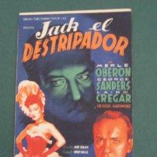 Cine: PROGRAMA DE CINE - JACK EL DESTRIPADOR - 1944 - PUBLICIDAD. Lote 39284360