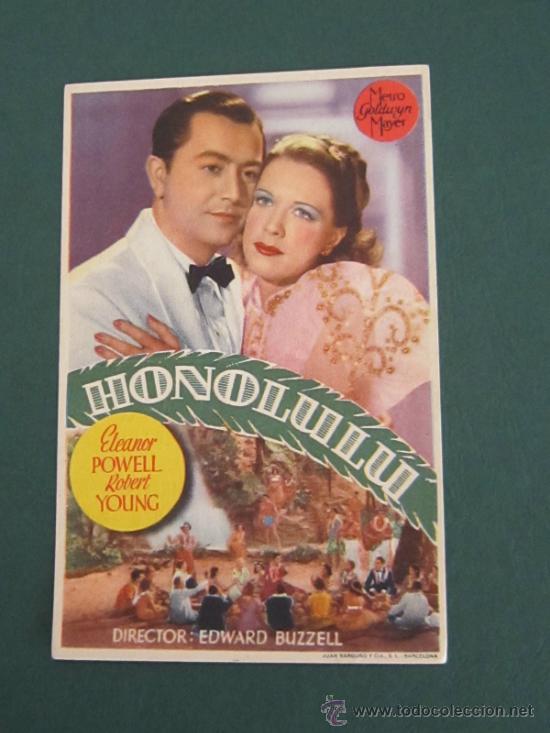 PROGRAMA DE CINE - HONOLULU - 1939 - PUBLICIDAD - DOBLADO (Cine - Folletos de Mano - Comedia)