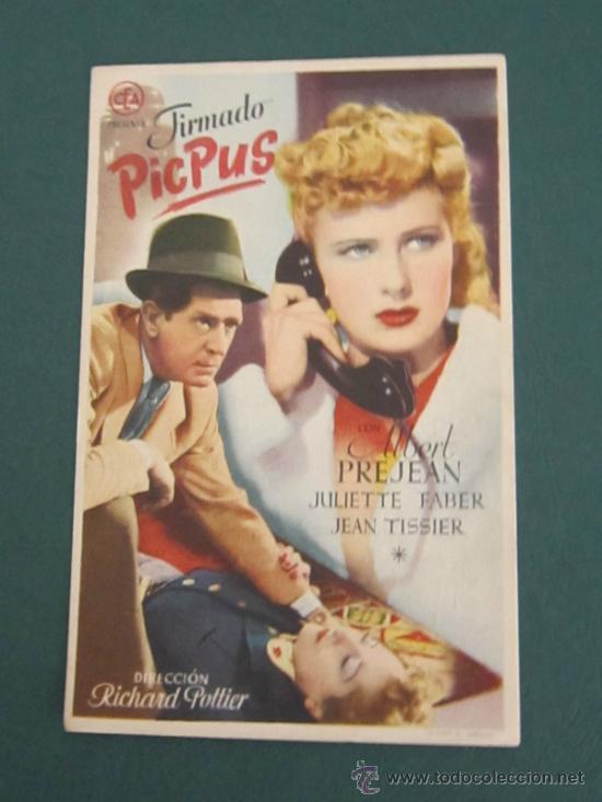 PROGRAMA DE CINE - FIRMADO PICPUS - 1942 - PUBLICIDAD (Cine - Folletos de Mano - Suspense)