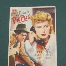Cine: PROGRAMA DE CINE - FIRMADO PICPUS - 1942 - PUBLICIDAD. Lote 39298689