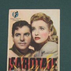 Cine: PROGRAMA DE CINE - SABOTAJE - 1942 - PUBLICIDAD. Lote 39300092