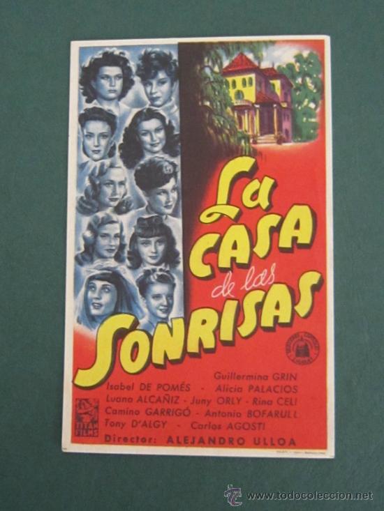 PROGRAMA DE CINE - LA CASA DE LAS SONRISAS - 1948 (Cine - Folletos de Mano - Comedia)