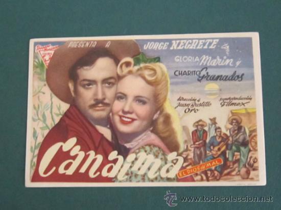 PROGRAMA DE CINE - CANAIMA EL DIOS DEL MAL - 1945 (Cine - Folletos de Mano - Aventura)