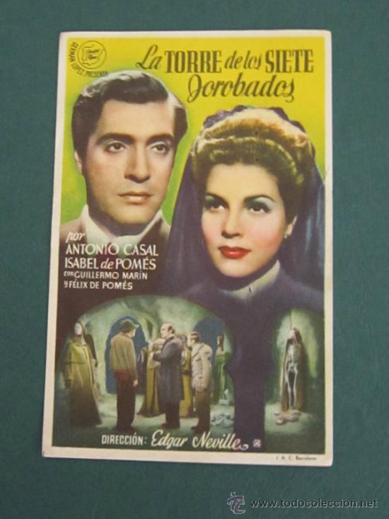PROGRAMA DE CINE - LA TORRE DE LOS SIETE JOROBADOS - 1944 (Cine - Folletos de Mano - Terror)