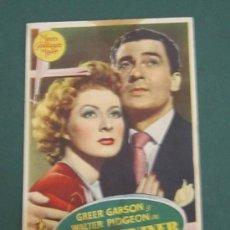 Cine: PROGRAMA DE CINE - LA SEÑORA MINIVER - 1942 - PUBLICIDAD - MANCHAS . Lote 39315467
