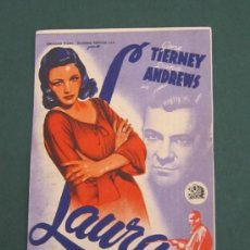 Cine: PROGRAMA DE CINE - LAURA - 1944 - PUBLICIDAD. Lote 39316133