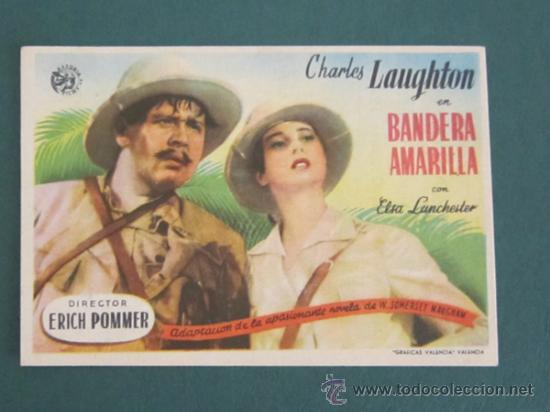 PROGRAMA DE CINE - BANDERA AMARILLA - 1938 - PUBLICIDAD (Cine - Folletos de Mano - Aventura)