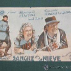 Cine: PROGRAMA DE CINE - SANGRE EN LA NIEVE - 1942 - PUBLICIDAD - DOBLADO. Lote 39329270