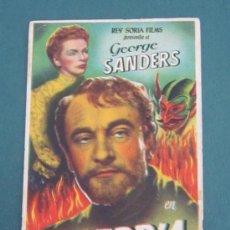 Cine: PROGRAMA DE CINE - SOBERBIA - 1943 - PUBLICIDAD - DOBLADO. Lote 39329956