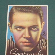 Cine: PROGRAMA DE CINE - SOMBRAS DE NEW-YORK - 1938 - PUBLICIDAD. Lote 39330085