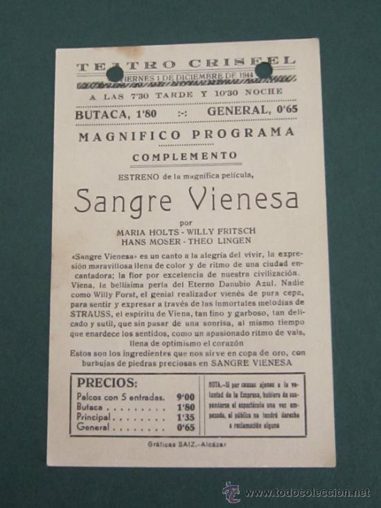 Cine: PROGRAMA DE CINE - SANGRE VIENESA - 1942 -PUBLICIDAD - Foto 2 - 39266163