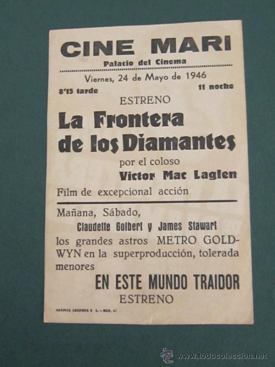 Cine: PROGRAMA DE CINE - LA FRONTERA DE LOS DIAMANTES - 1940 - PUBLICIDAD - Foto 2 - 39284082