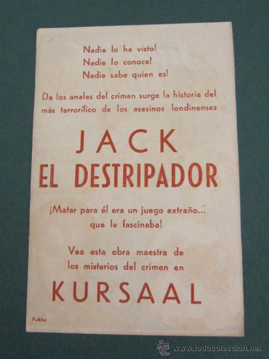 Cine: PROGRAMA DE CINE - JACK EL DESTRIPADOR - 1944 - PUBLICIDAD - Foto 2 - 39284360