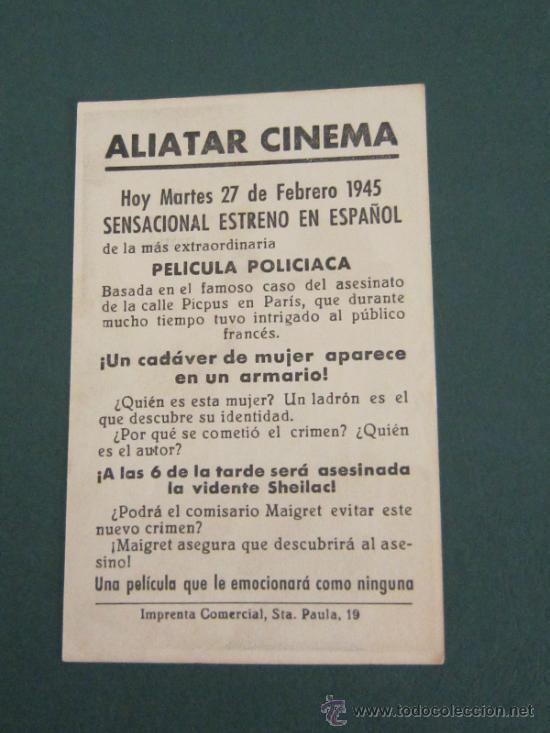 Cine: PROGRAMA DE CINE - FIRMADO PICPUS - 1942 - PUBLICIDAD - Foto 2 - 39298689