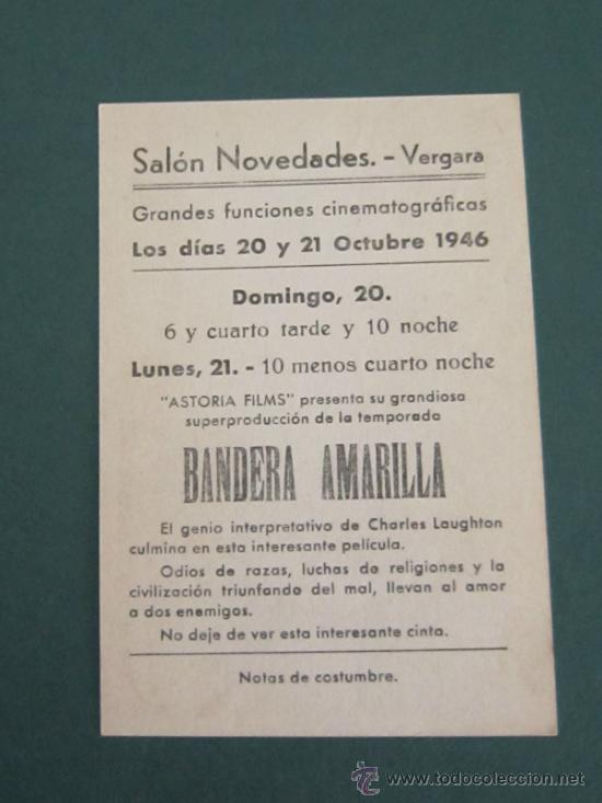Cine: PROGRAMA DE CINE - BANDERA AMARILLA - 1938 - PUBLICIDAD - Foto 2 - 39316602