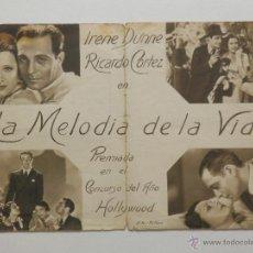 Cine: LA MELODIA DE LA VIDA - PROGRAMA DE MANO DOBLE - AÑO 1932. Lote 39312282