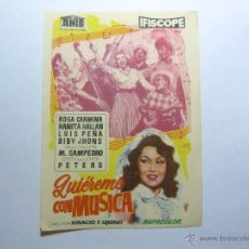 Cine: FOLLETO DE LA PELICULA --QUIEREME CON MUSICA --. Lote 39359354
