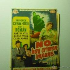 Cine: PROGRAMA NO HAY CRIMEN IMPUNE .- BRODERICK CRAWFORD PUBLICIDAD. Lote 39479329