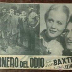 Cine: TARJETA 20TH CENTURY FOX. PRISIONERO DEL ODIO. WARNER BAXTER. GLORIA STUART. . Lote 39469299
