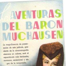 Cine: LAS AVENTURAS DEL BARON MUCHAUSEN PROGRAMA DE MANO ORIGINAL HANS ALBERS. Lote 39472652