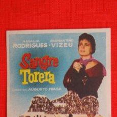 Cine: SANGRE TORERA, IMPECABLE SENCILLO ORIGINAL, AMALIA RODRIGUES DIAMANTINO VIZEU, SIN PUBLICIDAD. Lote 39617339