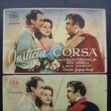 Cine: JUSTICIA CORSA, DOUGLAS FAIRBANKS JR., VARIANTE. Lote 39689742