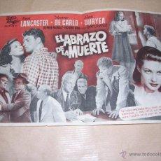 Cine: PROGRAMA - EL ABRAZO DE LA MUERTE , BURT LANCASTER , 1951 . Lote 39706600