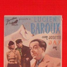 Cine: UNA HIJA DE OCASION, SENCILLO 1944, EXCTE. ESTADO, LUCIEN BAROUX, CON PUBLICIDAD CINE RIGAT. Lote 39709237