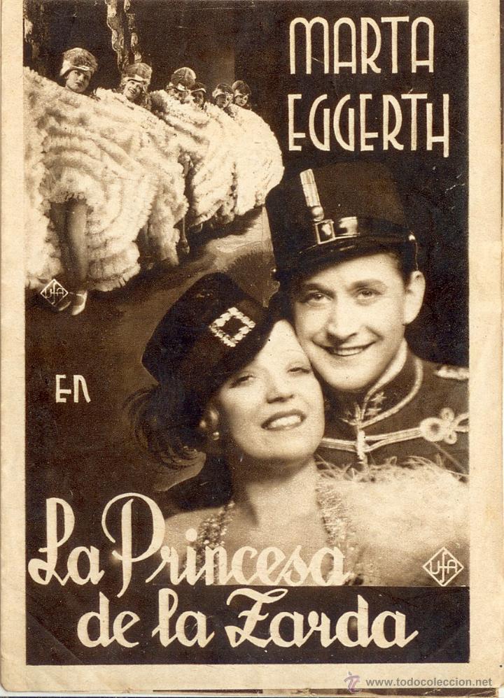 LA PRINCESA DE LA ZARDA - PROGRAMA DOBLE CINE 1934 (Cine - Folletos de Mano - Musicales)
