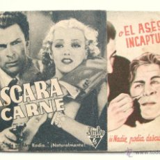 Cine: LA MASCARA DE CARNE O EL ASESINO INCAPTURABLE PROGRAMA DOBLE 1936 WALLACE FORD MOLLY LAMONT. PUBLI.. Lote 39808801