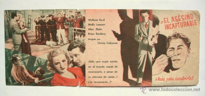 Cine: LA MASCARA DE CARNE O EL ASESINO INCAPTURABLE PROGRAMA DOBLE 1936 WALLACE FORD MOLLY LAMONT. PUBLI. - Foto 2 - 39808801