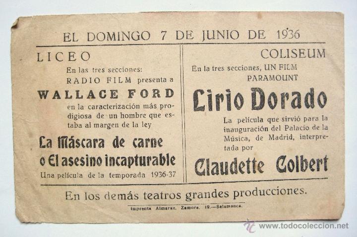 Cine: LA MASCARA DE CARNE O EL ASESINO INCAPTURABLE PROGRAMA DOBLE 1936 WALLACE FORD MOLLY LAMONT. PUBLI. - Foto 3 - 39808801
