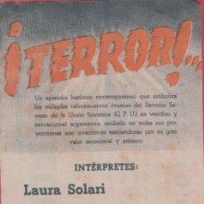 Cine: CARTEL DE CINE - PROGRAMA - ¡ TERROR!... FECHA: LUNES, 14 DE FEBRERO DE 1944. CC48*. Lote 39834808