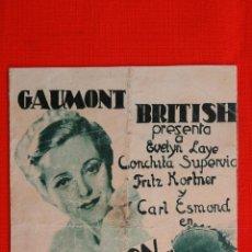 Cine: LA CANCION DEL CREPUSCULO, DOBLE 1935, EVELYN LAYE CONCHITA SUPERVIA, CON PUBLICIDAD PRINCIPE. Lote 39878919
