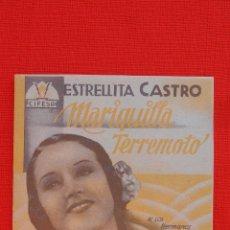 Cine: MARIQUILLA TERREMOTO, IMPECABLE DOBLE ORIGINAL, ESTRELLITA CASTRO, SIN PUBLICIDAD. Lote 39880814