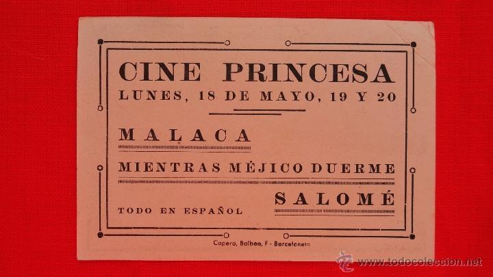 Cine: MALACA, IMPECABLE TARJETA AÑOS 30, CON PUBLICIDAD CINE PRINCESA - Foto 2 - 39881235