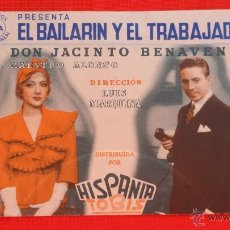 Cine: EL BAILARIN Y EL TRABAJADOR, DOBLE 1938 EXCTE ESTADO, ROBERTO REY ANA Mª CUSTODIO, PUBLI SALA REUS. Lote 39899781