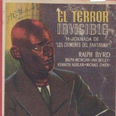 Cine: CARTEL DE CINE - PROGRAMA - *EL TERROR INVISIBLE* --CINE CAPITOL - NULES-- CC598*. Lote 39949357