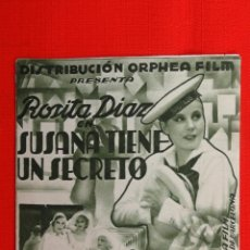 Cine: SUSANA TIENE UN SECRETO, DOBLE 1933, , R. NUÑEZ M. LIGERO, CON PUBLICIDAD SALA REUS. Lote 39990721