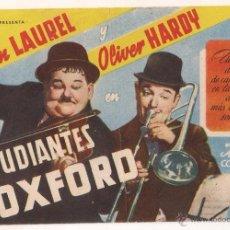 Cine: ESTUDIANTES DE OXFORD PROGRAMA SENCILLO CIFESA STAN LAUREL OLIVER HARDY. Lote 39990879