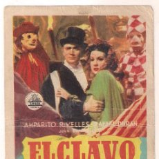 Cine: EL CLAVO PROGRAMA SENCILLO CIFESA CINE ESPAÑOL AMPARO RIVELLES RAFAEL DURAN RAFAEL GIL. Lote 39991380